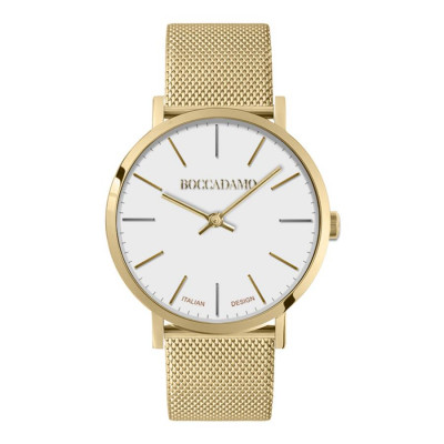 Watch lady with white dial and mesh strap golden mesh