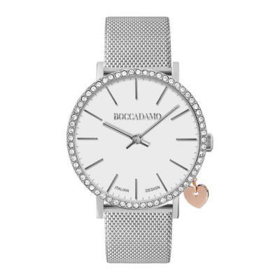Watch lady with Swarovski crystals, side charm and cinturuno knitted mesh silver