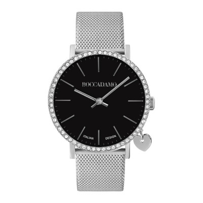 Watch lady with black dial, Swarovski crystals, side charm and cinturuno knitted mesh silver