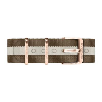 Cinturino in nylon a strisce marroni e grigia