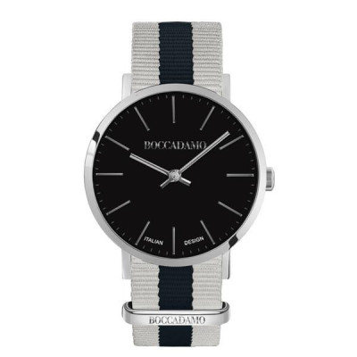 Clock with black dial and strap in nylon bicolor