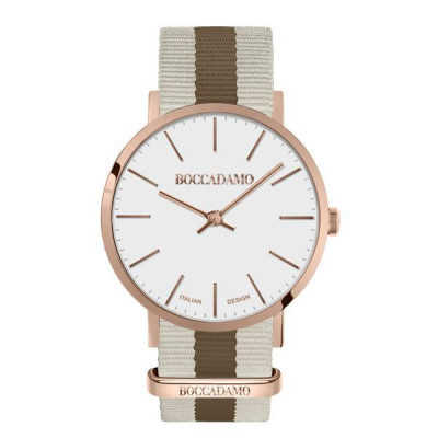 Clock with white dial, cassa rosy and strap in nylon bicolor