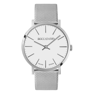 Clock with white dial and mesh strap Milan in steel
