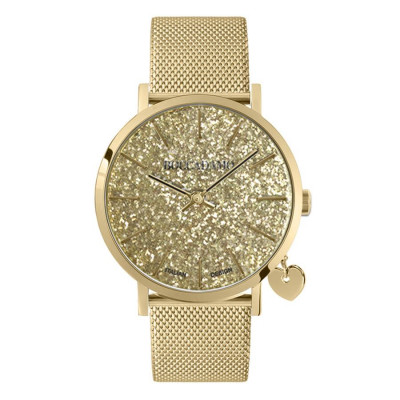 Women's watch with golden glitter dial, Milano knit strap and golden side charm