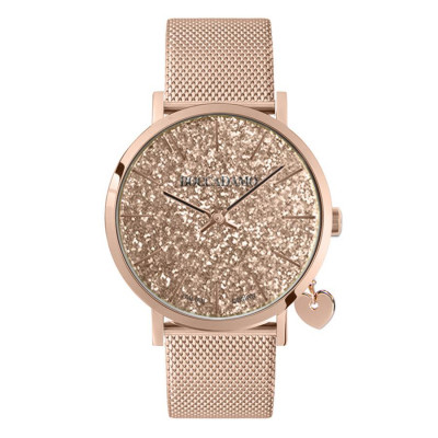 Women's watch with rosewood glitter dial, Milan knit strap and side charm