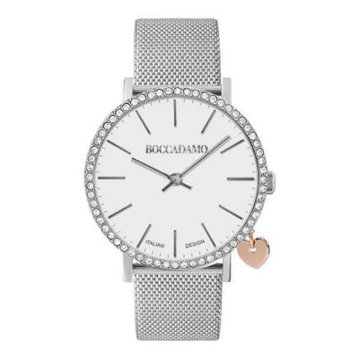Watch lady with white dial, box in Swarovski and charm side rosato