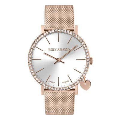Watch lady in steel light pink with silver dial, box in Swarovski and lateral charm