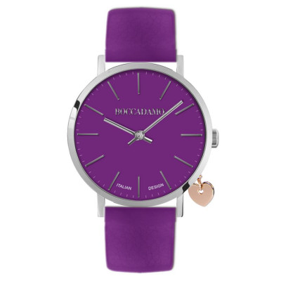Women's watch with purple leather strap and side charm