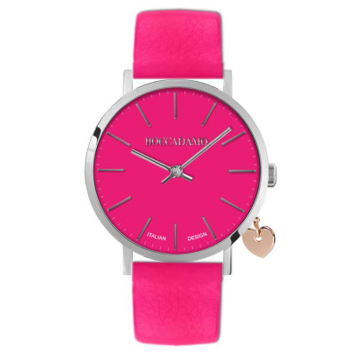 Women's watch with Fuchsia leather strap and side charm