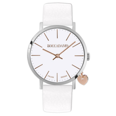 Women's watch with white leather strap and side charm