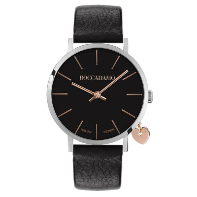 Women's watch with black leather strap and side charm
