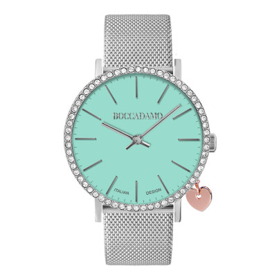 Clock with milk and mint dial and Swarovski