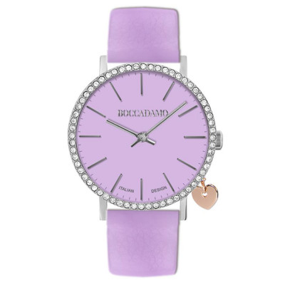 Women's watch with lilac leather strap and side charm