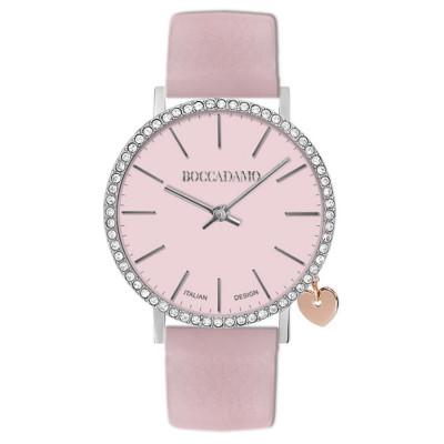Women's watch with pink leather strap and lateral charm
