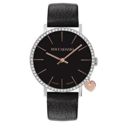 Women's watch with black leather strap, Swarovski case and side charm