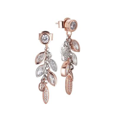 Cluster earrings bicolor with zircons
