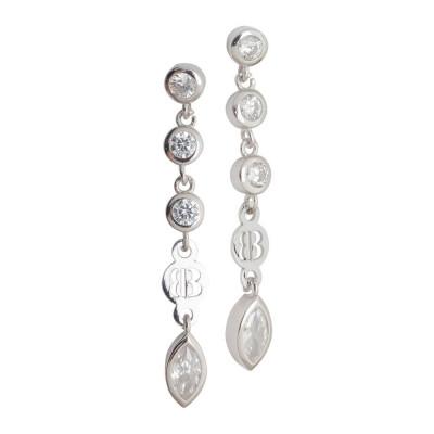 Earrings with zircons diamond cut pendants
