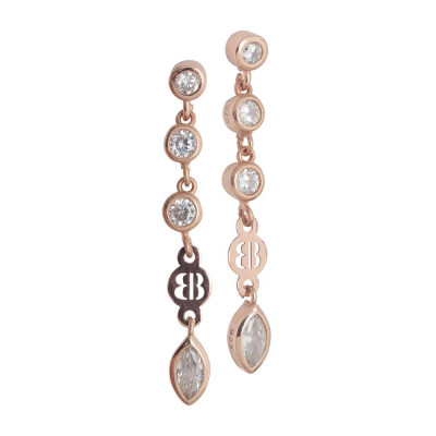 Earrings Gold plated pink with zircons diamond cut pendants
