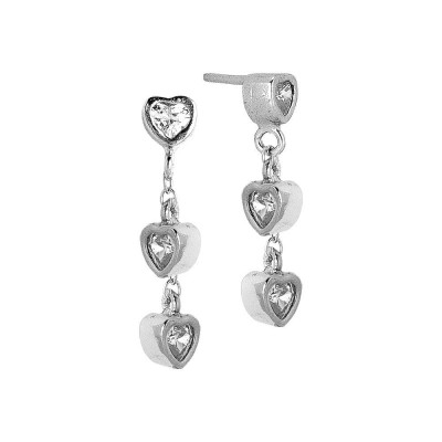 Earrings with zircons to heart