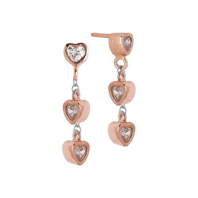 Earrings Gold plated pink with zircons to heart