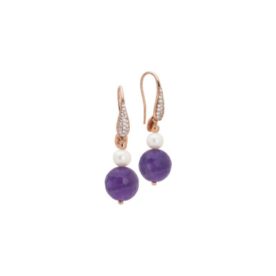 Earrings with natural pearl and amethyst