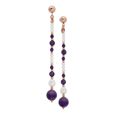Drop earrings with natural and amethyst pearls