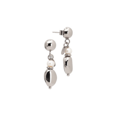 Rhodium-plated earrings with natural pearl