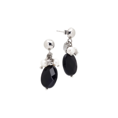 Tufted earrings with natural pearls, white agate and obsidian