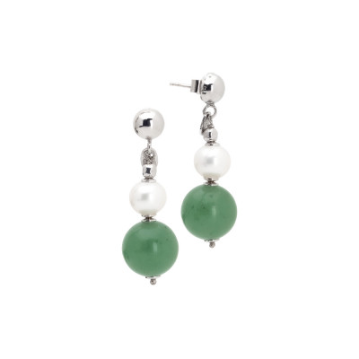 Drop earrings with natural pearls and aventurine