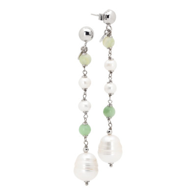 Earrings with natural smooth and baroque and aventurine pearls