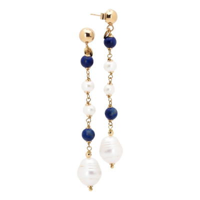 Drop earrings with natural pearls, sodalite and lapis lazuli
