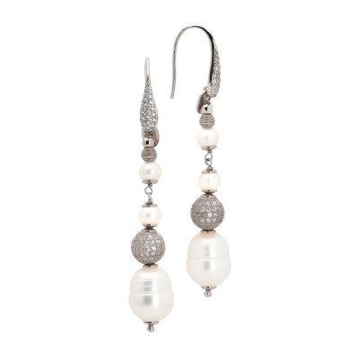 Drop earrings with natural pearls and diamond beads