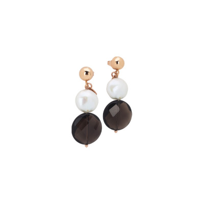 Rose gold plated earrings with natural pearl and smoky quartz