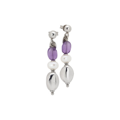 Earrings with natural pearls and amethyst