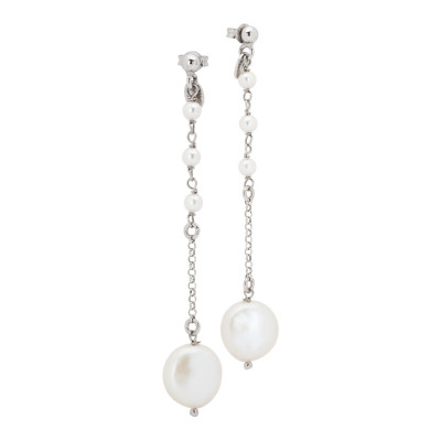 Drop earrings with natural pearls