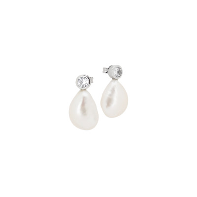 Earrings with zircon and baroque pearl