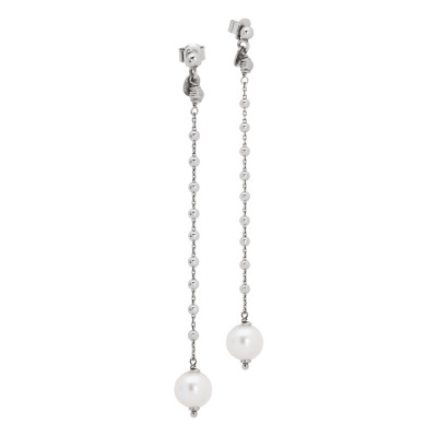 Earrings with pendant decorated with boule and natural pearl finish