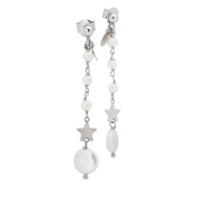 Drop earrings with natural pearls and star