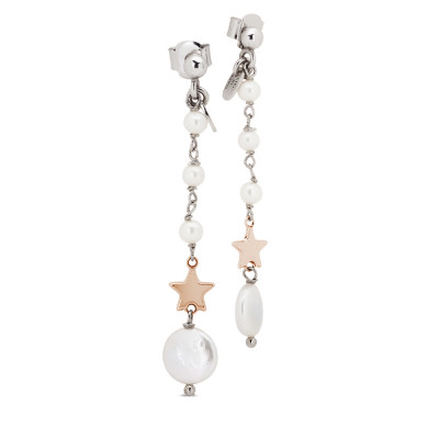 Drop earrings with natural pearls and rose gold plated star