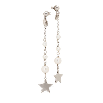 Earrings with natural degraded pearls and star pendant