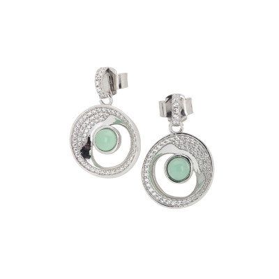 Moon eclipse earrings with green crystal water