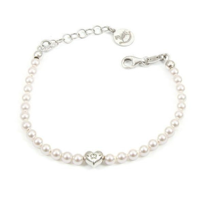 Bracelet in silver with white pearls and central heart