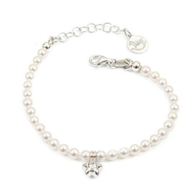 Bracelet in silver with white pearls and central star