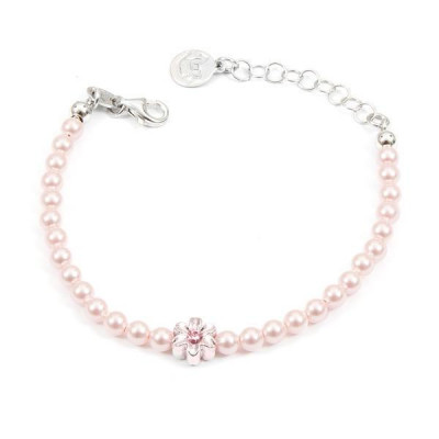 Bracelet in silver with pink pearls and central flower