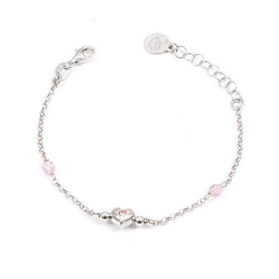 Bracelet in silver with Swarovski crystals pink and central heart