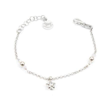Bracciale in argento con cristalli Swarovski boreali e stella centrale