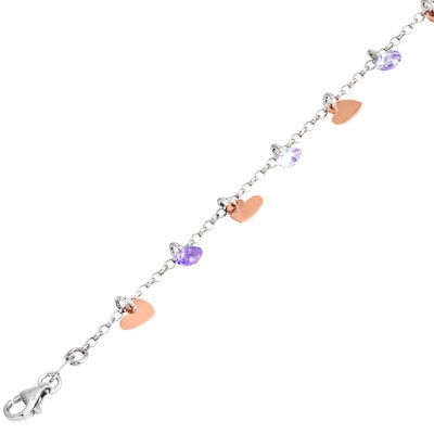 Bracelet in silver with charms rose and lavender zircons
