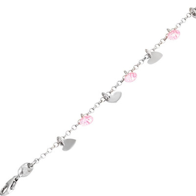 Bracelet in silver with charms and zircons rosa