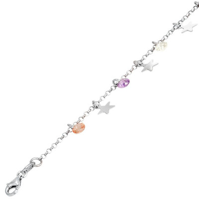 Bracelet in silver with charms and zircons multicolor