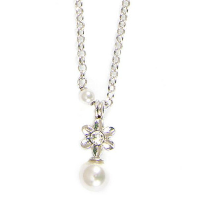 Necklace in silver with flower and white pearls